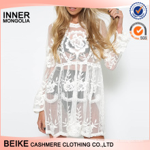 Big discount sexy lady lace bikini crochet cover up beach dress