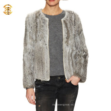 Venta al por mayor de moda de invierno chaqueta de piel de conejo real de las mujeres con una cremallera