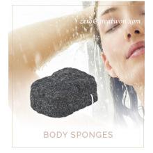 Esponja Konjac de carbón de bambú para limpieza de baños
