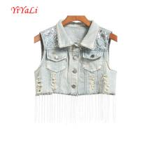 Femme Vêtements d'extérieur Tops Fashion Girl Vêtements Paillettes Jeans Gilet / Top