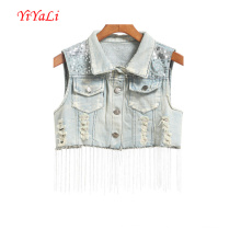 Mulheres Outerwear Tops Fashion Girl Clothes Lantejoulas Jeans Vest / Top