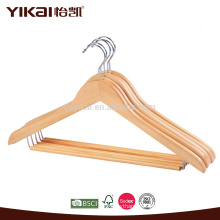 Round locking bar curved shirt wooden clothes hanger