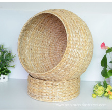 Quality for China Woven Storage Baskets,Water Hyacinth Basket,Storage Baskets With Lids Supplier Rectangular Natural Banan Leaf Cat House supply to Russian Federation Factory