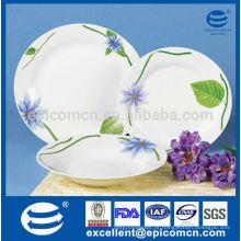 Louça de porcelana china de 18pcs com flor roxa