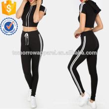 Crop Tee rayé avec des pantalons de taille de cravate Fabrication en gros des vêtements de mode des femmes (TA4012SS)