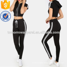 Striped Crop Tee With Tie Waist Pants Manufacture Wholesale Fashion Women Apparel (TA4012SS)