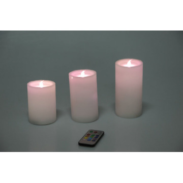 Pil Kumandalı Fildişi Real Wax Pillar LED Mumlar
