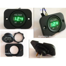 Automotive Digital Voltmeter Socket with LED Indicator in Mounting Panel