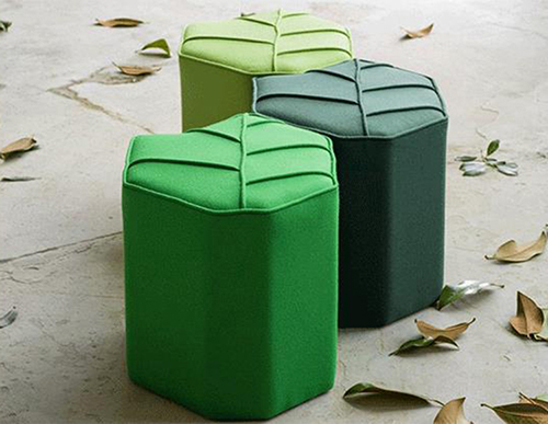Upholstered Wool Pouf
