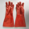 Rotes PVC-Harz Glatte Oberfläche Schutzhandschuhe 40 cm