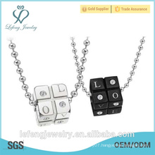 Fashionable jewelry new design long necklace white and black color couple ring necklace