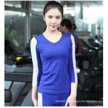 Mujeres 85spandex + 15nylon fitness Plain V cuello contraste Color 3/4 manga camiseta Sport Wear