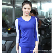 Women 85spandex+15nylon fitness Plain V Neck Contrast Color 3/4 Sleeve Tshirt Sport Wear
