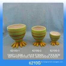 Green Chick Fuß Design Keramik Eierbecher Inhaber für Ostern Tag