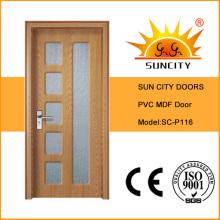 Diseño de la puerta interior de la sala de MDF de PVC (SC-P116)