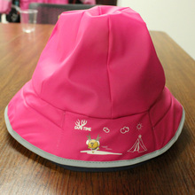 Rosy Red Cartoon PU Rain Hat /Rain Cap/Raincoat for Children