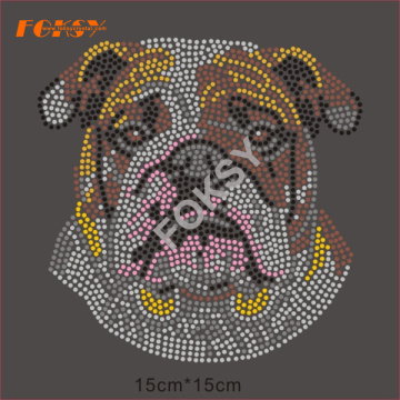 แม่แบบของ Bulldog Hot Fix Rhinestone Motif