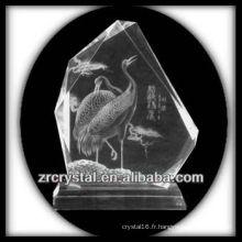 K9 Intaglio fait main en cristal avec grue