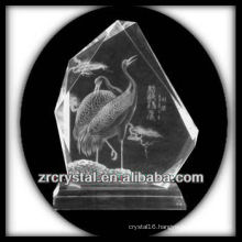 K9 Handmade Crystal Intaglio with Crane