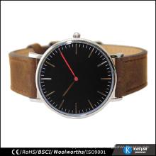 Wütende Kuh Leder 316L Edelstahl Uhr, Japan Movt Uhr Preise Herren Armbanduhren
