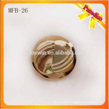 MFB26 Bouton en forme de tige métallique sur mesure Bouton métallique en alliage de zinc de couleur or de 2,3 cm avec galvanoplastie