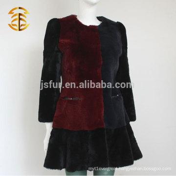 2015 New Fashion Elegant Girl's Rabbit Fur Coat Dress