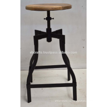 промышленные барный стул металла трубной базы мангового дерева круглой верхней части