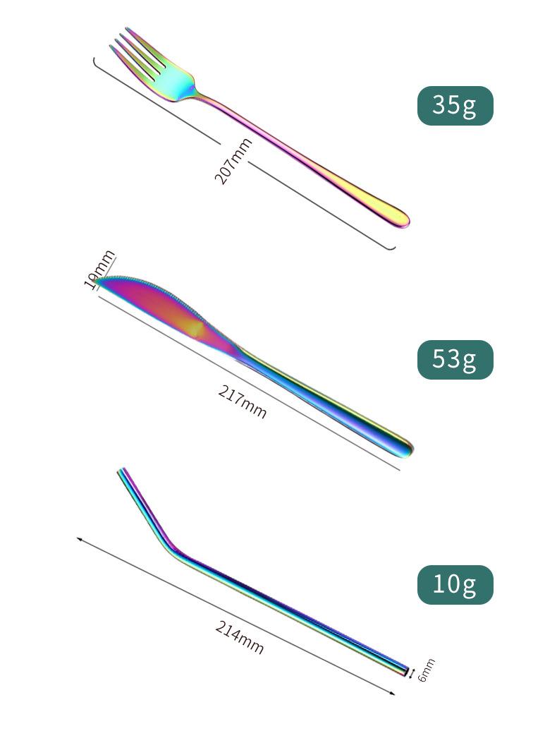 spoon fork knife straw set