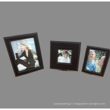 Cadres photo en cuir PU de qualité noire Ensemble de 3