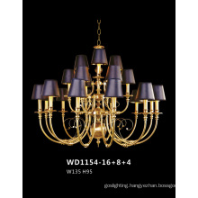 Graceful Decorative Brass Chandelier with Lampshade for Hotel
