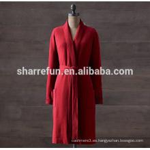 fábrica personalice el cable largo del estilo hecho punto el traje 100% puro de la cachemira para las mujeres
