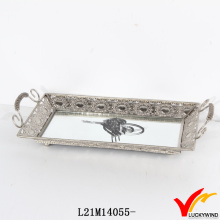 Handmade Rectangular Antique Mirror Silver Tray