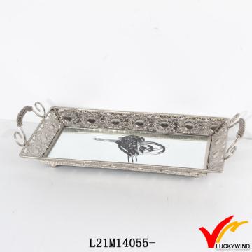 Handgefertigte rechteckige antike Spiegel Silber Tablett