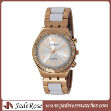 New Fashion Rosegold White Band Wrist Watch for Lady