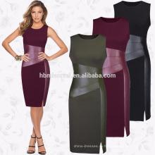 2017 лето Женская мода дамы повседневная одежда шею рукавов длиной до колен bodycon тонкий карандаш платье партии женщин платье