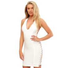White Plunge Lace up Side Bandage Dress