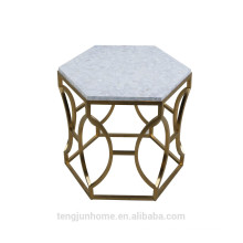 CANOSA Chinese fresh water shell tea table with golden stainless steel