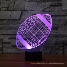 Rugby Fußball 3D Lampe optische Täuschung Nachtlicht, 7 Farbwechsel Touch Tisch Schreibtischlampen mit Acryl Flat & ABS Basis