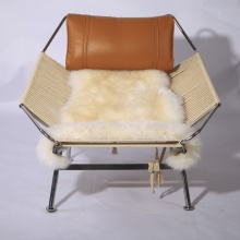 PP225 Flag Halyard leather lounge Chair