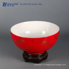 Chinois, chanceux, rouge, grand, bol, maison, décoration, céramique, maison, décor
