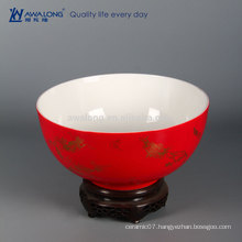 chinese lucky red large bowl house decoration ceramic home decor