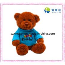 Plush Teddy Bear Toy with Blue Shirt (XMD-F032)
