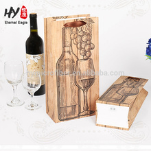 Logo printed customized paper packaging wine bag