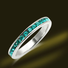 925 Silver Emerald Crystal Band Ring Cheap Jewelry Sets (RSA3428)