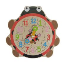 Wooden Ladybird juguetes educativos Reloj de madera Puzzle