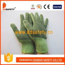Heavyweight Green String Knit con guantes negros de PVC Dkp206