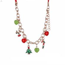 El último diseño simple cadena de oro hecho a mano perlas de Navidad collar encanto