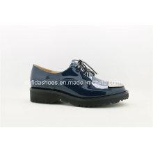 Trendy Metal Toe Cuero Confort Mujeres Zapatos Casual