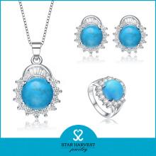 Mode Saphir Silber Schmuck Set Verkauf auf Linie (J-0140)