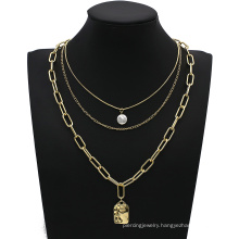Party Jewelry Gift Vintage Multilayer Metal Geometric Pendant Necklace Chain Punk Necklaces
